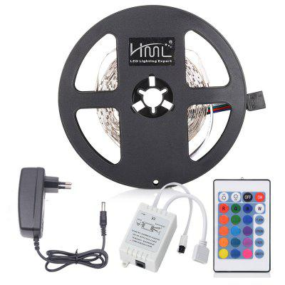 HML 5M 24W RGB 2835 SMD 300 LED Strip Lights with IR 24 Keys Remote Control + DC Adapter ( EU Plug )