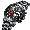 LIGE 9835 4820 Fashion Business Calendar Steel Band Quartz Movement Men Watch with Box - RED