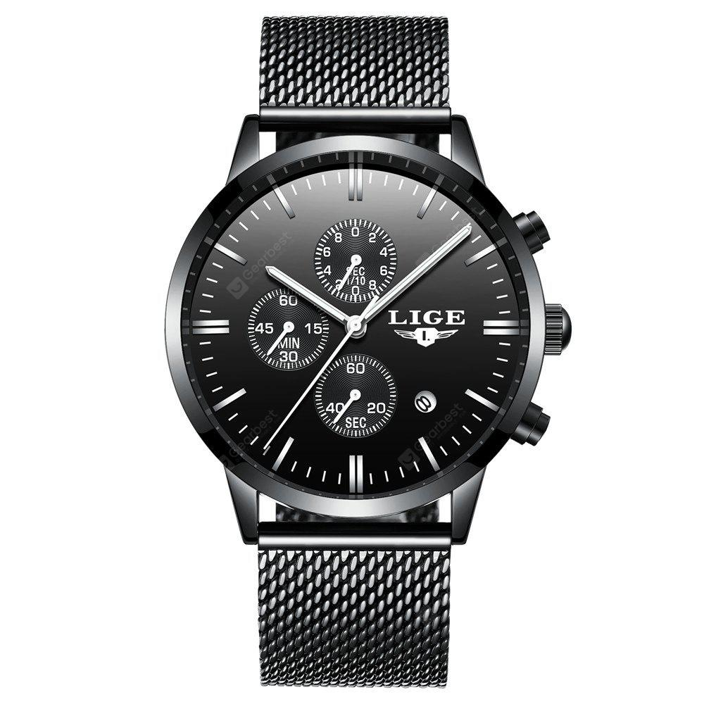 LIGE 9834 4823 Leisure Small Dial Steel Mesh Band Quartz Movement Men Watch with Box
