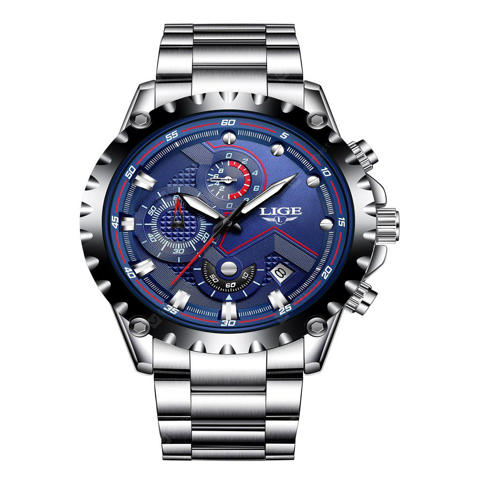 LIGE 9821 4825 Business Casual Small Dial Calendar Steel Band Quartz Men Watch with Box