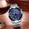 LIGE 9821 4825 Business Casual Small Dial Calendar Steel Band Quartz Men Watch with Box - BLUE AND WHITE