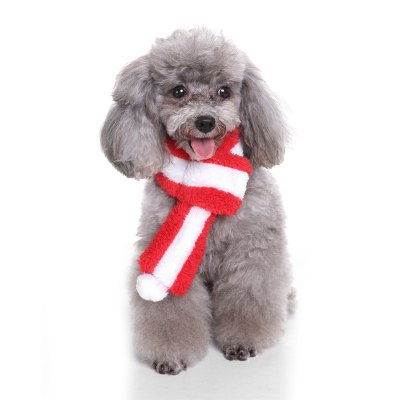 Christmas Red and White Striped Pet Scarf