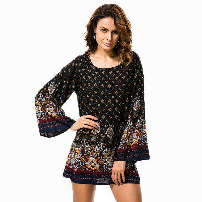 Buy BLACK 3XL Restoring Ancient Ways Round Neck Long Sleeve Printed Dress for $17.00 in GearBest store
