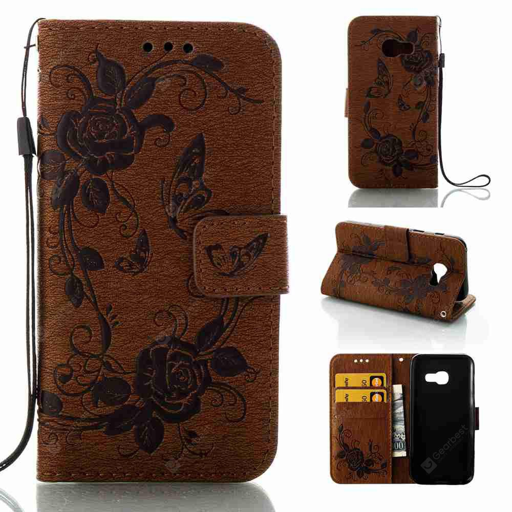 Embossed - Butterfly Flower caso do telefone PU para Samsung Galaxy A3