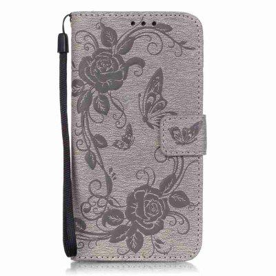 Embossed - Butterfly Flower PU Phone Case for Samsung Galaxy S6