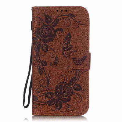 Embossed - Butterfly Flower PU Phone Case for Samsung Galaxy  S7 Edge