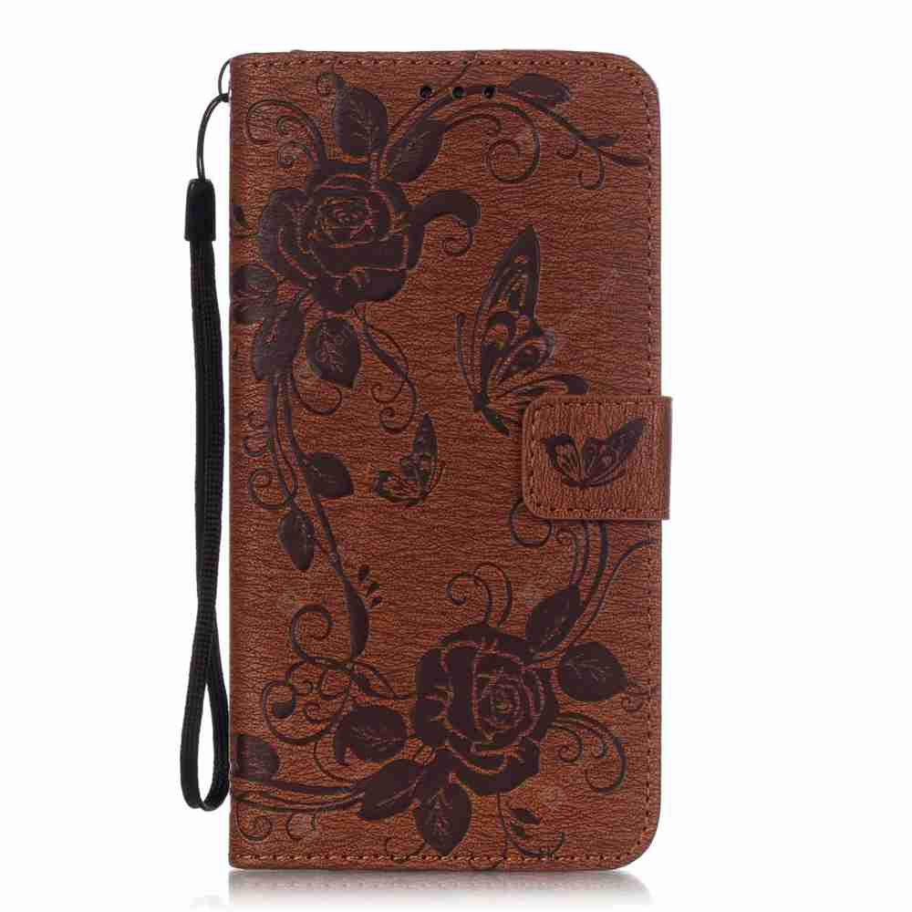 Embossed - Butterfly Flower PU Phone Case for Samsung Galaxy S6 Edge Plus