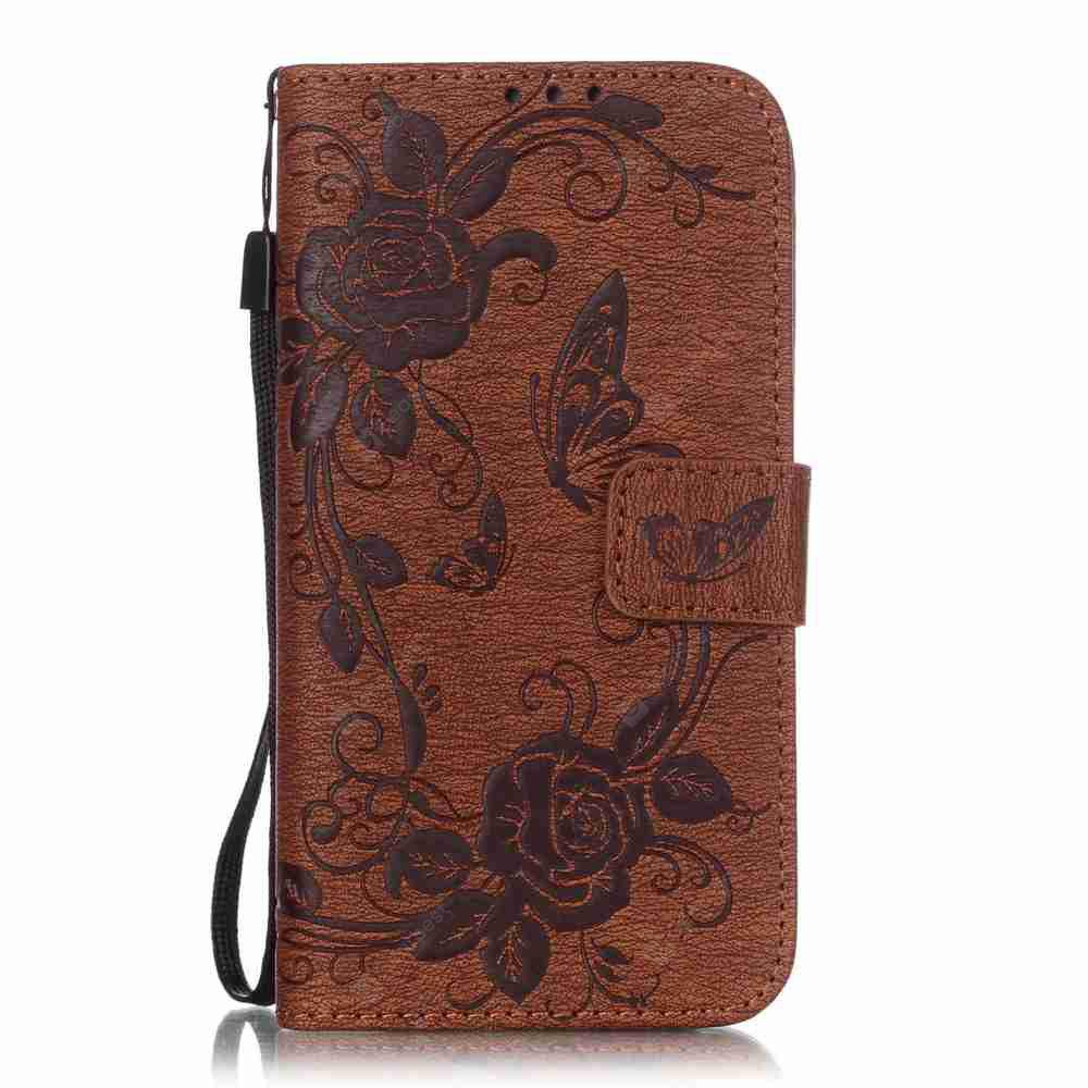 Embossed - Butterfly Flower PU Phone Case for Samsung Galaxy  S6 Edge