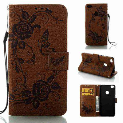 Embossed - Butterfly Flower PU Phone Case for HUAWEI  P8 Lite 2017