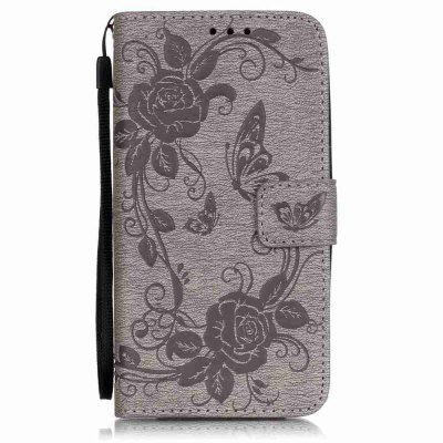 Embossed - Butterfly Flower PU Phone Case for  LG K7 / K8