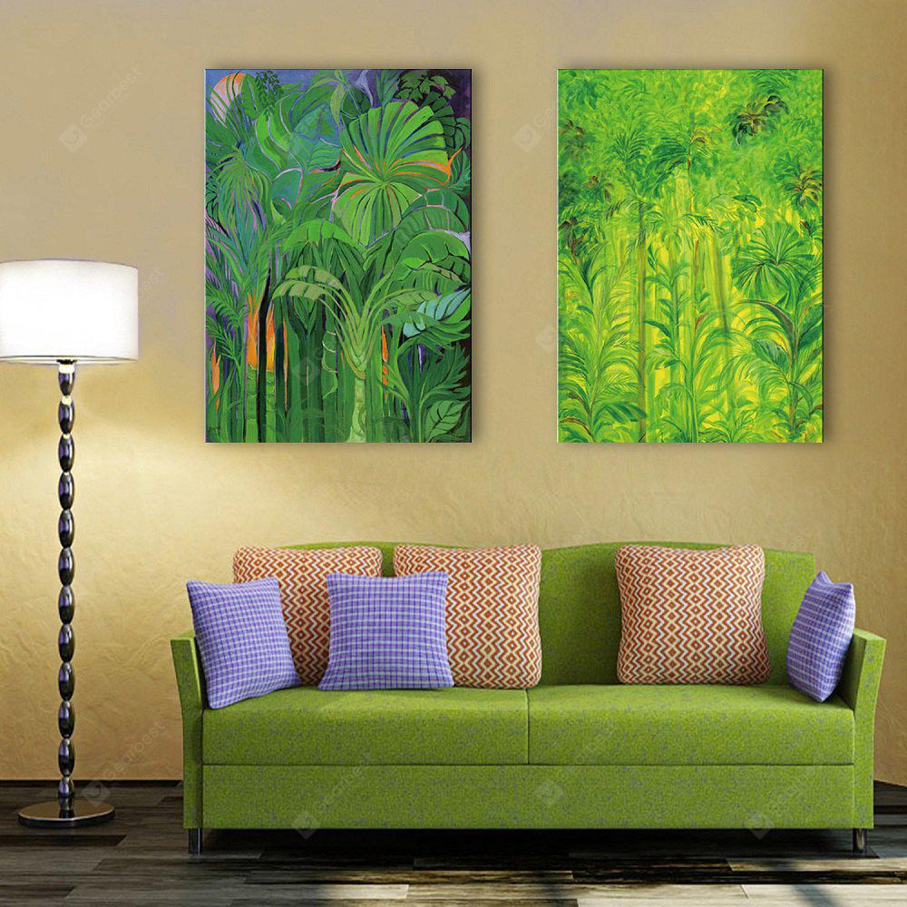 Special Design Frameless Paintings Green Woods Pattern 2PCS