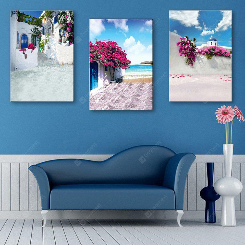 Special Design Frameless Paintings Seaside House Pattern 3PCS