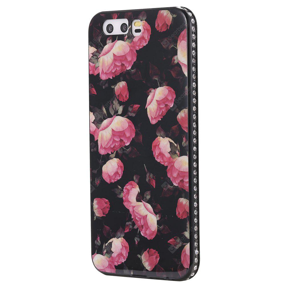 Wkae Porcelain Flower Mobile Phone Shell Surrounded By Rhinestone for Huawei P10