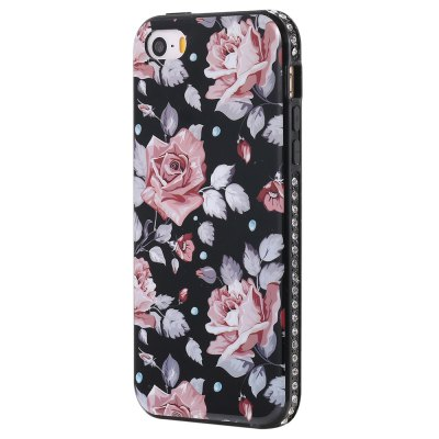 Wkae Porcelain Flower Cell Phone Shell cercado por strass para IPhone 5 / 5S / SE