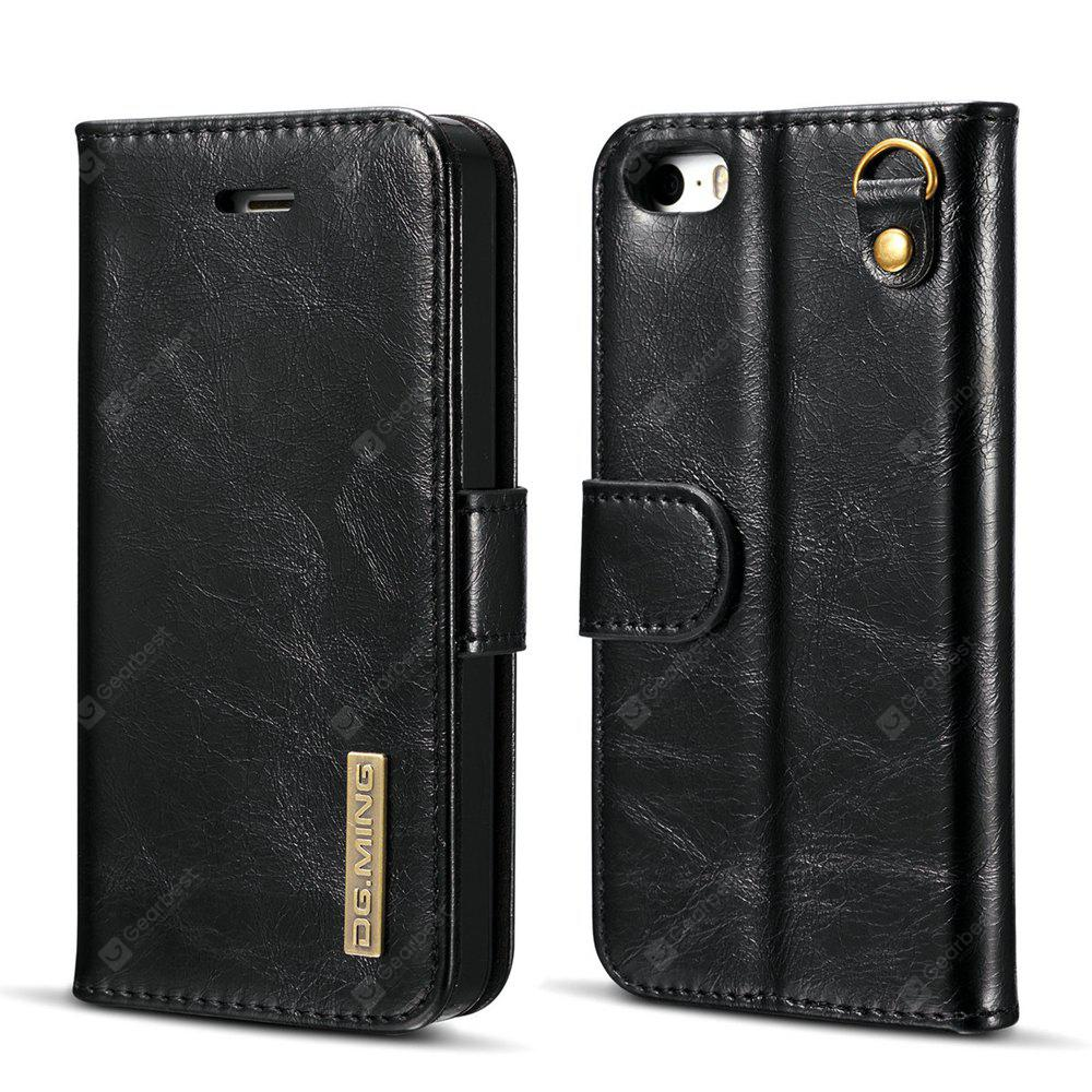 DG.MING Microfiber Real Leather Separable Car Bracket Case with Flip Wallet Cover for iPhone SE