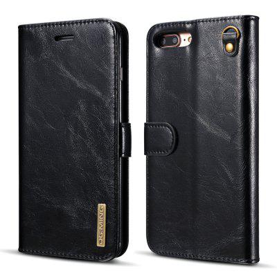 DG.MING Microfiber Real Leather Separable Car Bracket Case with Flip Wallet Cover for iPhone 7 Plus