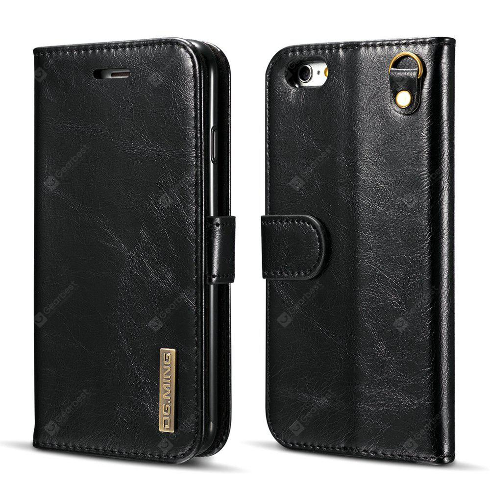DG.MING Microfiber Real Leather Separable Car Bracket Case with Flip Wallet Cover for iPhone 6S Plus