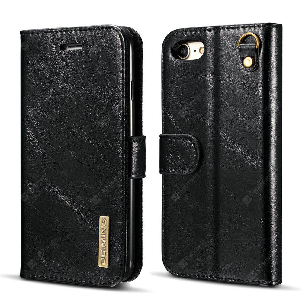 DG.MING Microfiber Real Leather Separable Car Bracket Case with Flip Wallet Cover for iPhone 7