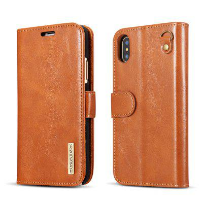 DG.MING Microfiber Real Leather Separable Car Bracket Case with Flip Wallet Cover for iPhone X