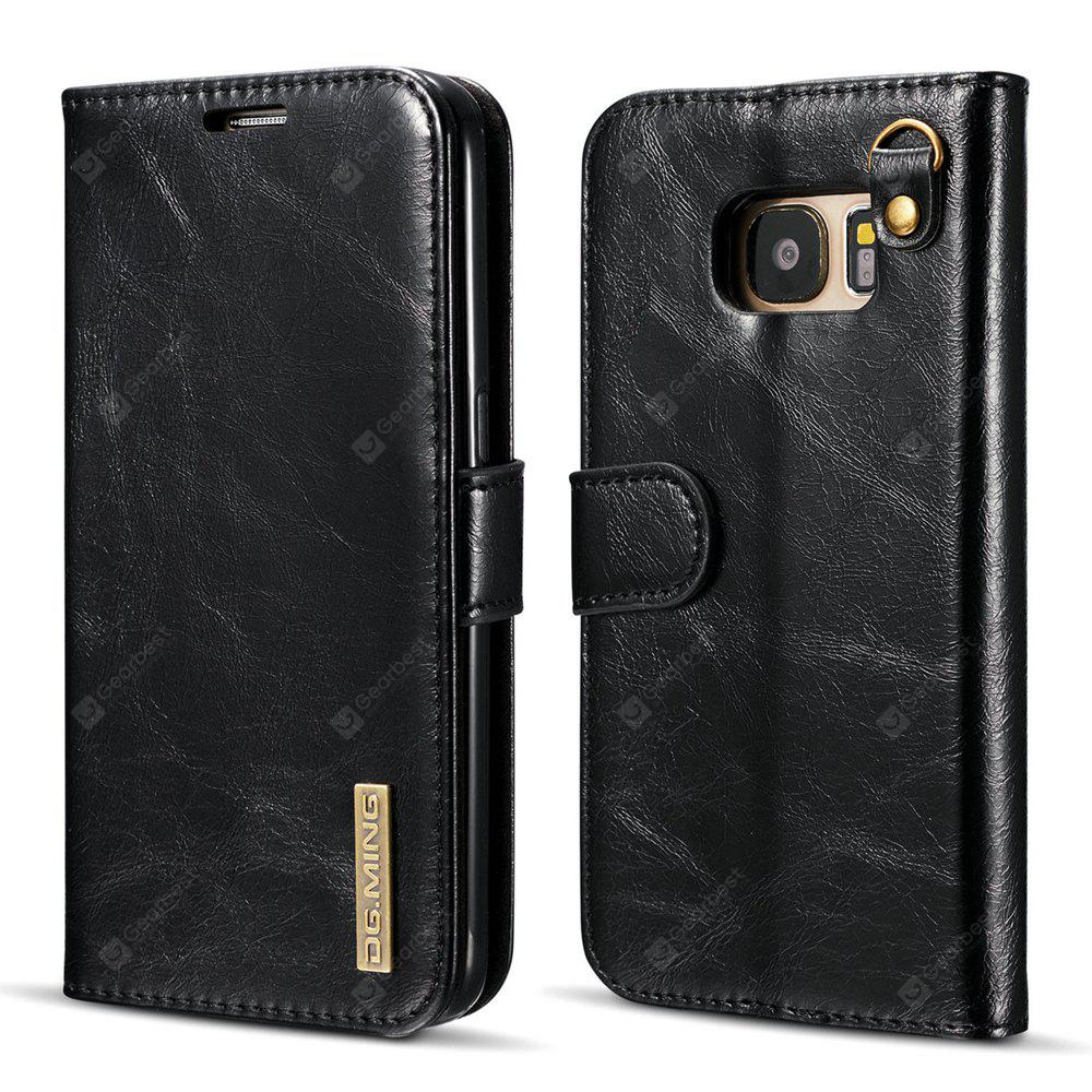 DG.MING Microfiber Real Leather Separable Car Bracket Case with Flip Wallet Cover for Samsung Galaxy S7