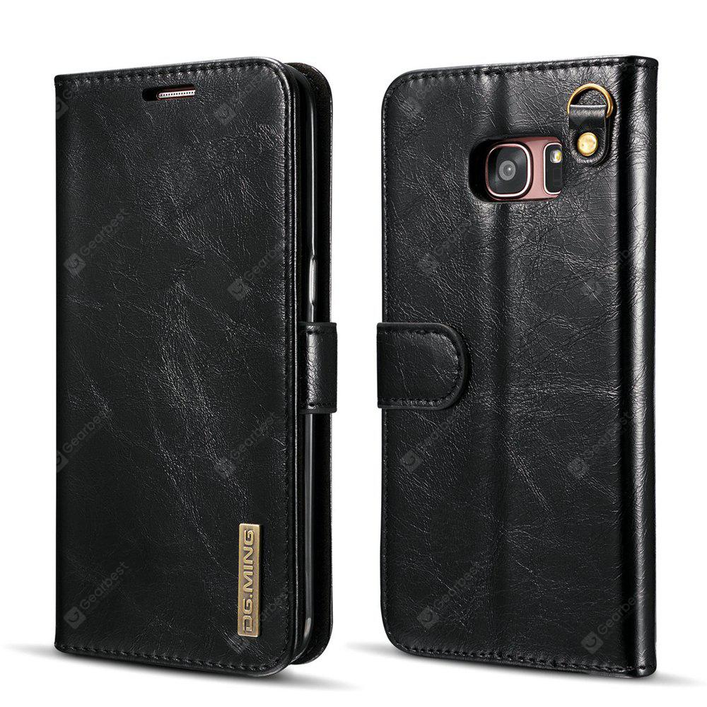 DG.MING Microfiber Real Leather Separable Car Bracket Case with Flip Wallet Cover for Samsung Galaxy S7 Edge