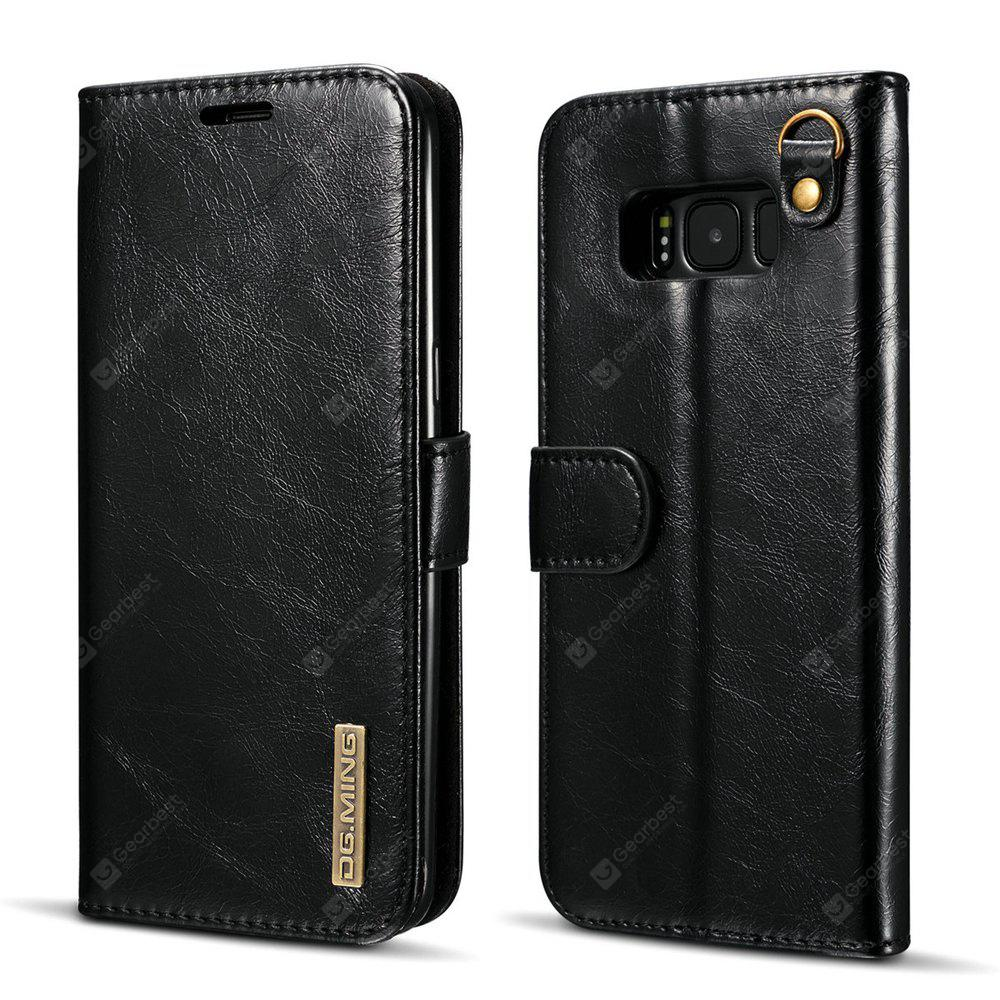 DG.MING Microfiber Real Leather Separable Car Bracket Case with Flip Wallet Cover for Samsung Galaxy S8