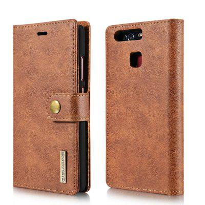 Buy DG.MING Cow Leather Separable Back Case with Magnetic Button Flip Wallet Cover for Huawei P9 BROWN for $12.90 in GearBest store