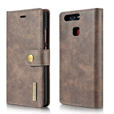Buy DG.MING Cow Leather Separable Back Case with Magnetic Button Flip Wallet Cover for Huawei P9 GRAY for $12.90 in GearBest store