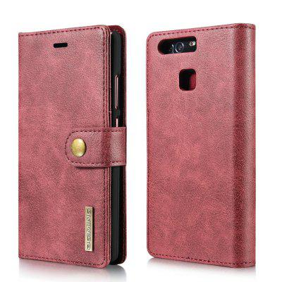 Buy DG.MING Cow Leather Separable Back Case with Magnetic Button Flip Wallet Cover for Huawei P9 RED for $12.90 in GearBest store