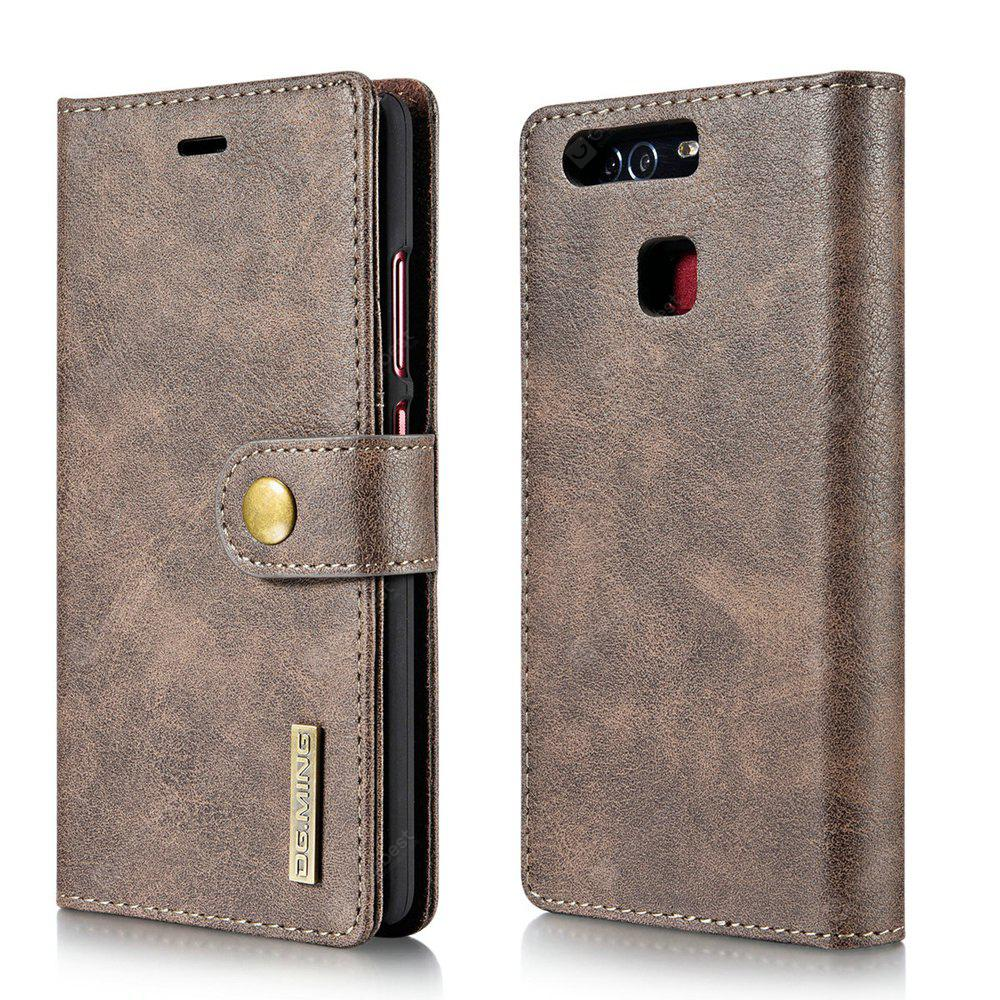 DG.MING Cow Leather Separable Back Case with Magnetic Button Flip Wallet Cover for Huawei P9 GRAY