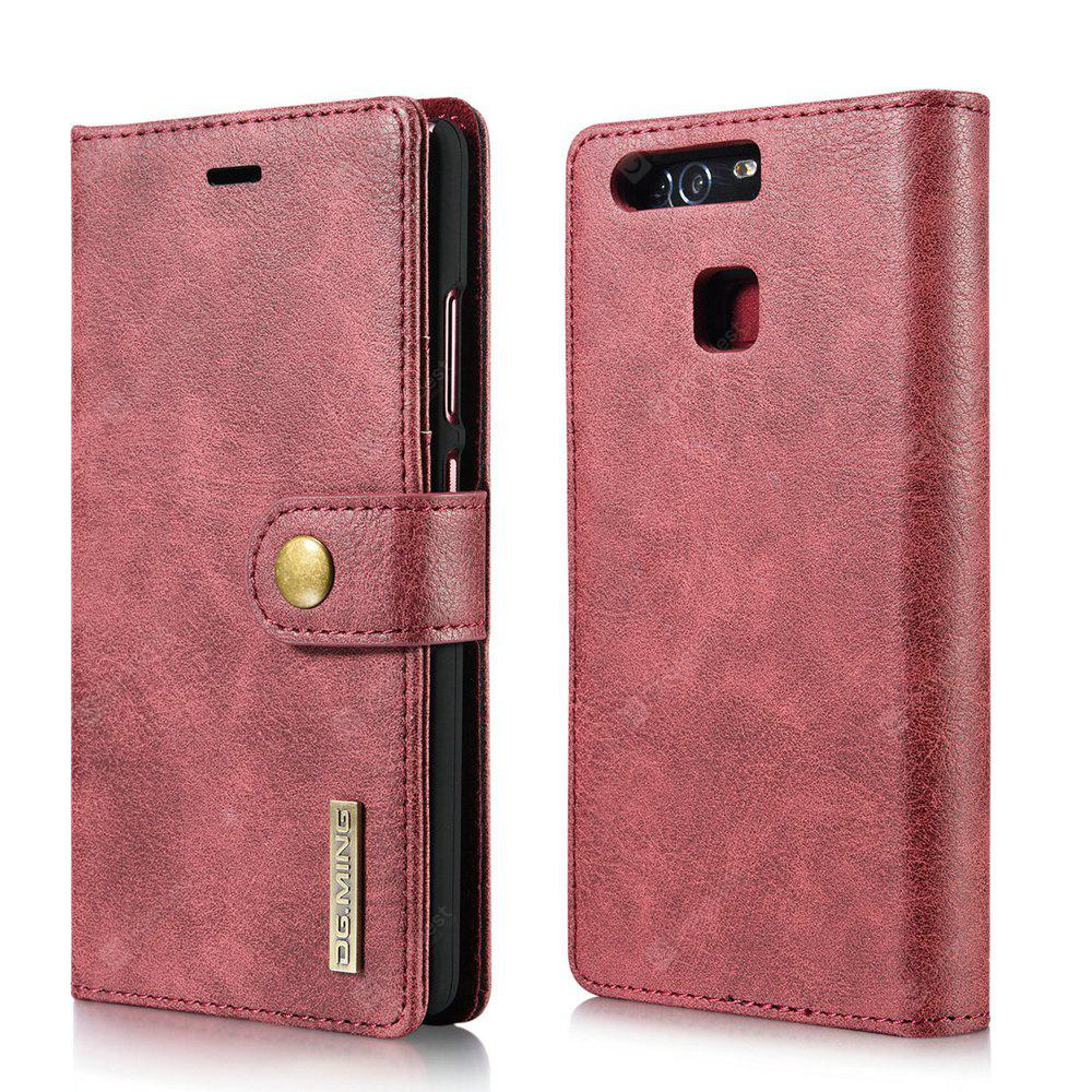 DG.MING Cow Leather Separable Back Case with Magnetic Button Flip Wallet Cover for Huawei P9 RED