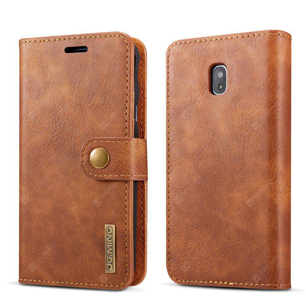 DG.MING Cow Leather Separable Back Case with Magnetic Button Flip Wallet Cover for Samsung Galaxy J7