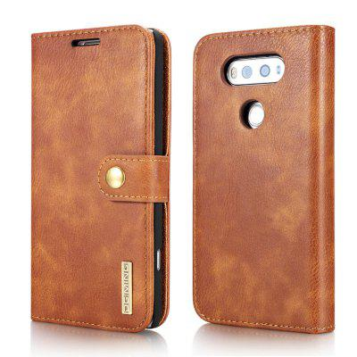 Buy BROWN DG.MING Cow Leather Separable Back Case with Magnetic Button Flip Wallet Cover for LG V20 for $12.90 in GearBest store