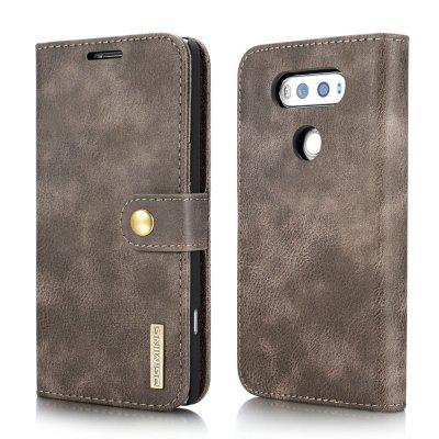 Buy GRAY DG.MING Cow Leather Separable Back Case with Magnetic Button Flip Wallet Cover for LG V20 for $8.69 in GearBest store
