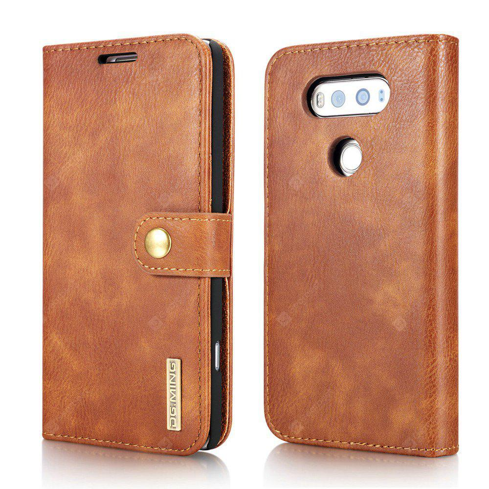 DG.MING Cow Leather Separable Back Case with Magnetic Button Flip Wallet Cover for LG V20