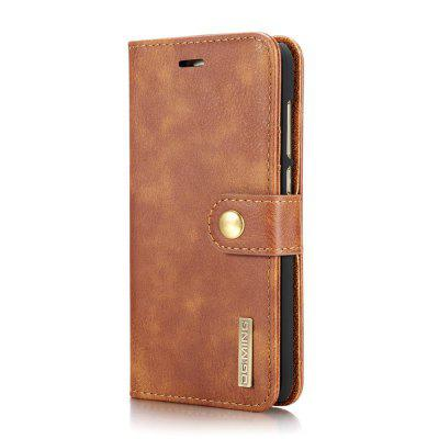 Buy DG.MING Cow Leather Separable Back Case with Magnetic Button Flip Wallet Case for Huawei P8 Lite BROWN for $12.90 in GearBest store