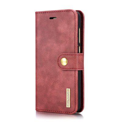 Buy DG.MING Cow Leather Separable Back Case with Magnetic Button Flip Wallet Case for Huawei P8 Lite RED for $12.90 in GearBest store