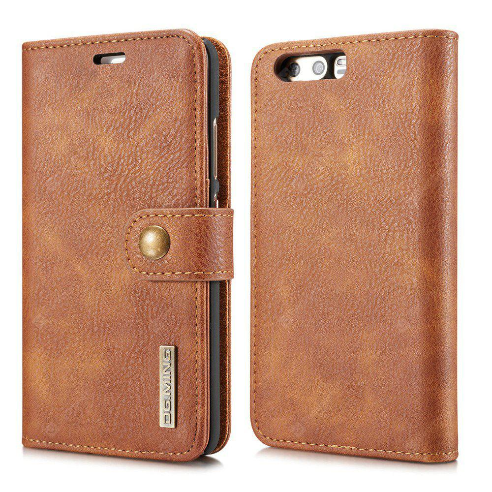 DG.MING Cow Leather Separable Back Case with Magnetic Button Flip Wallet Case for Huawei P10 Plus BROWN