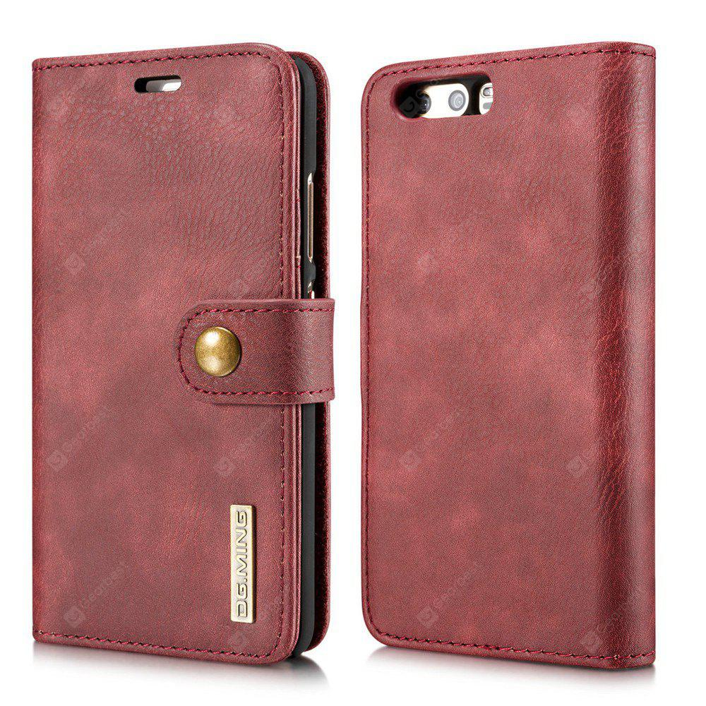 DG.MING Cow Leather Separable Back Case with Magnetic Button Flip Wallet Case for Huawei P10 Plus RED