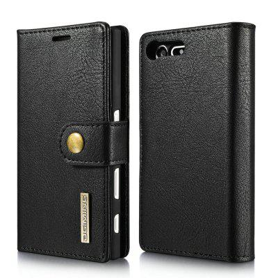 DG.MING Cow Leather Separable Back Case with Magnetic Button Flip Wallet Case for Sony Xperia X Compact