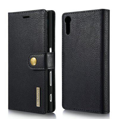 DG.MING Cow Leather Separable Back Case with Magnetic Button Flip Wallet Cover for Sony Xperia XZ