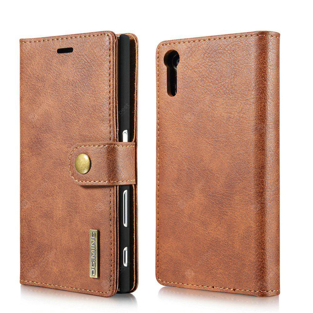 DG.MING Cow Leather Separable Back Case with Magnetic Button Flip Wallet Cover for Sony Xperia XZs