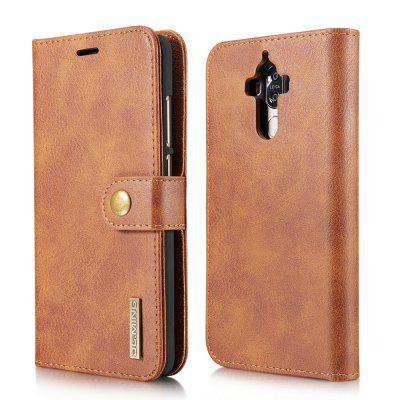 Buy BROWN DG.MING Cow Leather Separable Back Case with Magnetic Button Flip Wallet Cover for Huawei Mate 9 for $12.90 in GearBest store