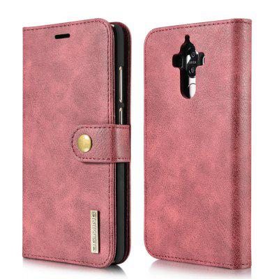 Buy RED DG.MING Cow Leather Separable Back Case with Magnetic Button Flip Wallet Cover for Huawei Mate 9 for $12.90 in GearBest store