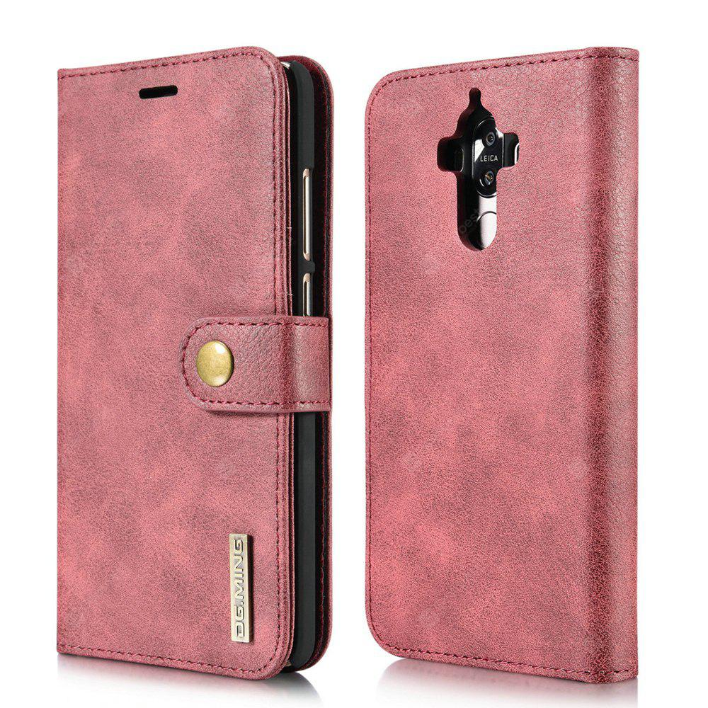 RED DG.MING Cow Leather Separable Back Case with Magnetic Button Flip Wallet Cover for Huawei Mate 9