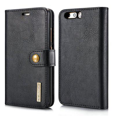 Buy DG.MING Cow Leather Separable Back Case with Magnetic Button Flip Wallet Cover for Huawei P10 BLACK for $12.90 in GearBest store