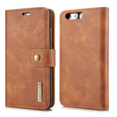 Buy DG.MING Cow Leather Separable Back Case with Magnetic Button Flip Wallet Cover for Huawei P10 BROWN for $12.90 in GearBest store