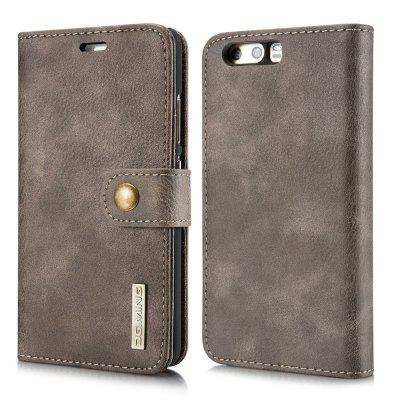 Buy DG.MING Cow Leather Separable Back Case with Magnetic Button Flip Wallet Cover for Huawei P10 GRAY for $12.90 in GearBest store
