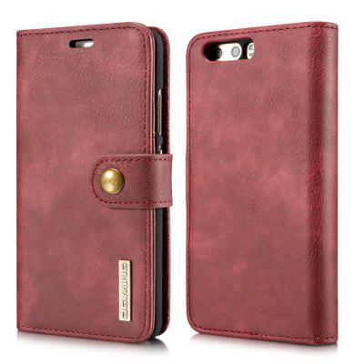 Buy DG.MING Cow Leather Separable Back Case with Magnetic Button Flip Wallet Cover for Huawei P10 RED for $12.90 in GearBest store