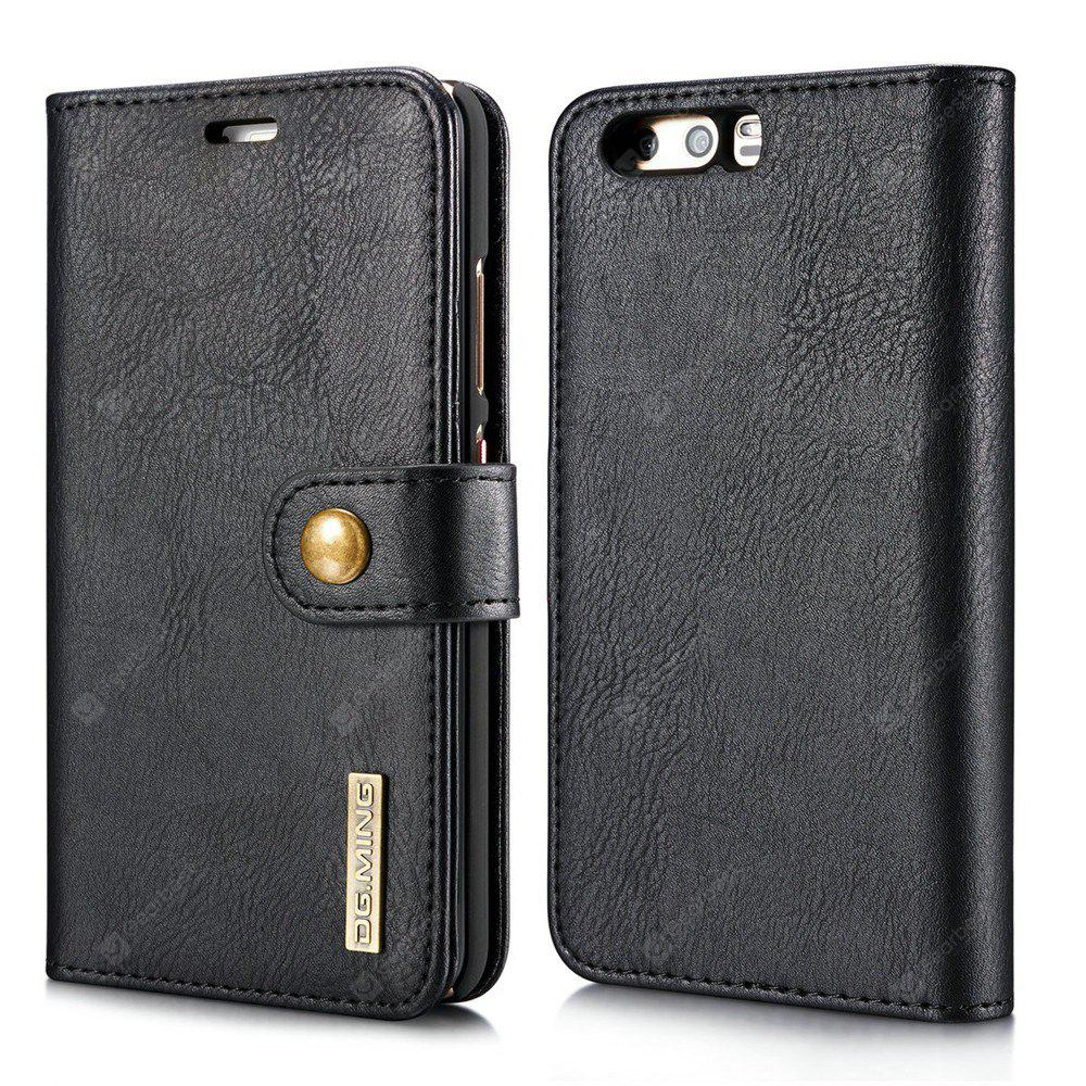 DG.MING Cow Leather Separable Back Case with Magnetic Button Flip Wallet Cover for Huawei P10 BLACK